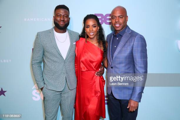 Sinqua Walls Kelly Rowland and Kevin Frazier attend BET's American Soul Emmy FYC Screening Event on May 23 2019 in North Hollywood California