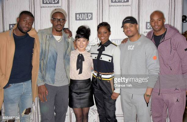 Sinqua Walls Wood Harris Ali Ahn Afton Williamson Mack Wilds and Antoine Harris attend Build series to discuss 'The Breaks' at Build Studio on...