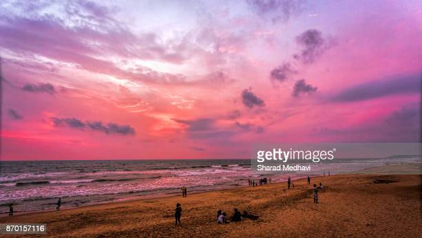 sinquerim public beach, goa india - goa stock photos and pictures