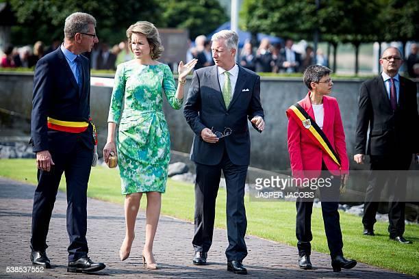 Sint-Amands mayor Peter Van Hoeymissen, Queen Mathilde of Belgium, King Philippe - Filip of Belgium and Antwerp province governor Cathy Berx are...
