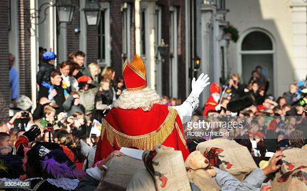 Sinterklaas and his Peters arrive with their ship in Schiedam on November 14 2009 The Sinterklaas feast celebrates the name day December 6 of Saint...