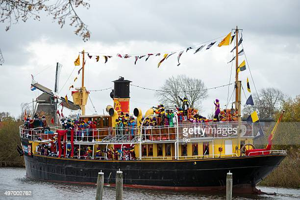 Sinterklaas arriving in Meppel with his steamboat
