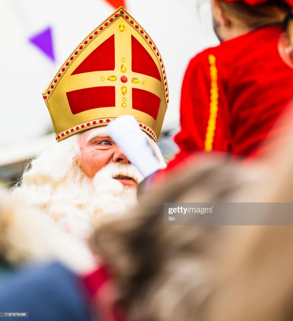 Sinterklaas arriving in the city of Kampen for the children's holiday Sint Nicolaas : Stock Photo