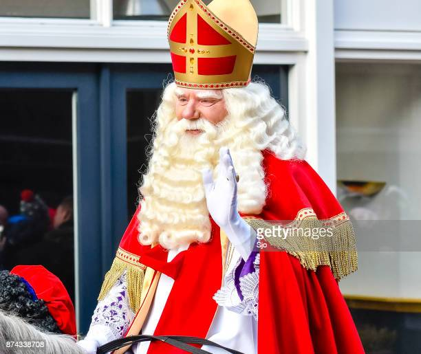 sinterklaas arriving in the city of kampen for the sint nicolaas festival - st. nicholas stock photos and pictures