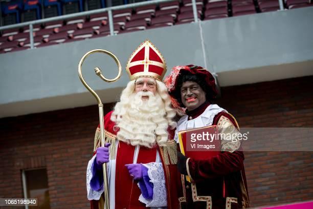 sinterklaas sint nicolaas black pete black face blackface zwarte piet during the Dutch Eredivisie match between FC Emmen and sbv Excelsior Rotterdam...