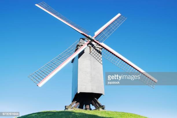 sint-janshuis mill (sint-janshuismolen) on the mills walk of kruisvest in the medieval city of bruges, belgium - old windmill stock photos and pictures
