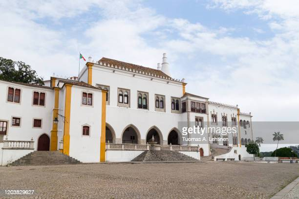 sintra national palace (or palace of sintra or town palace (palacio nacional de sintra in portuguese)) in sintra's old town in portugal. - traditionally portuguese stock pictures, royalty-free photos & images