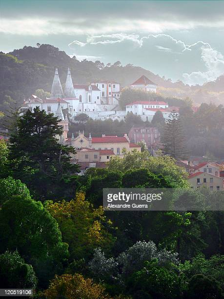 Sintra town with trees in foreground