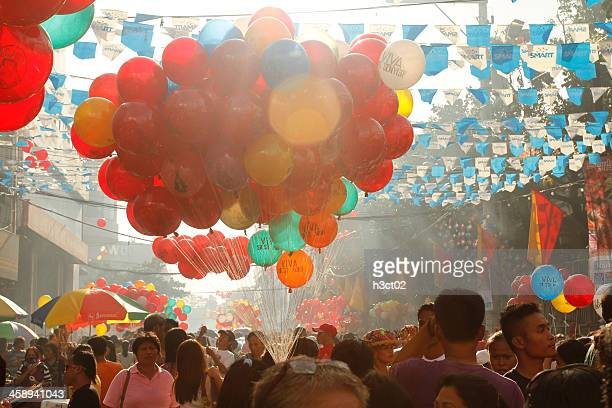 sinulog balloons - sinulog festival stock photos and pictures