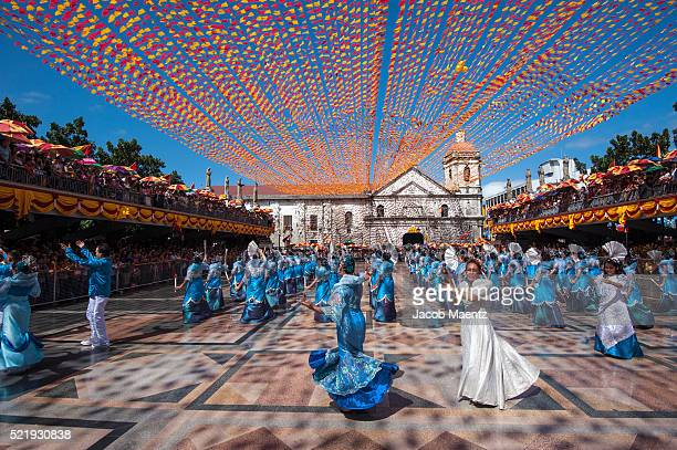 Sinulog dancers in front of Santo Nino Basilica