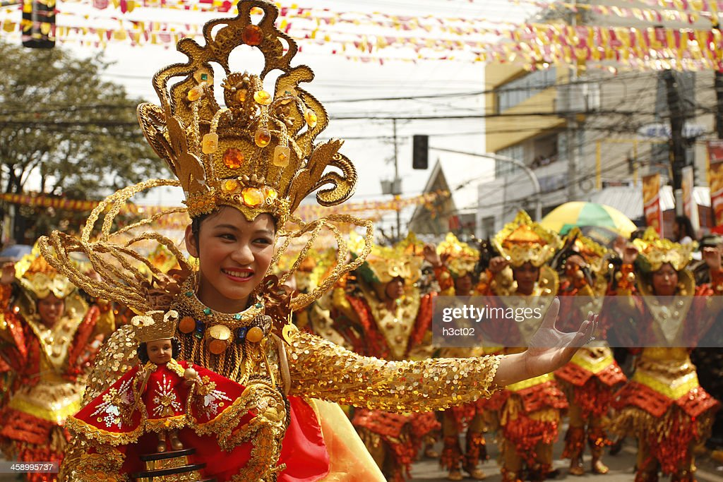 Sinulog Dancers in the Streets of Cebu : Stock Photo