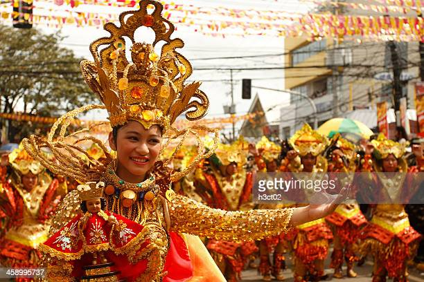 sinulog dancers in the streets of cebu - cebu stock photos and pictures