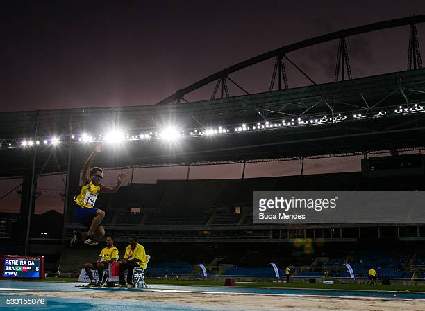 Sinvaldo Pereira da Silva of Brazil competes the Men's Long Jump T11 Final during the Paralympics Athletics Grand Prix Aquece Rio Test Event for the...