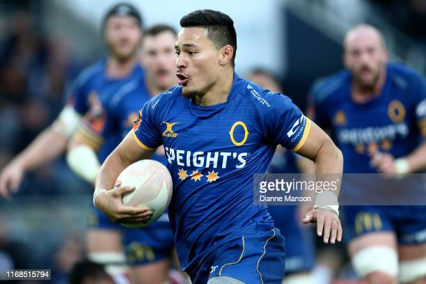 Sio Tomkinson of Otago runs the ball during the round 2 Mitre 10 Cup match between Otago and Southland at Forsyth Barr Stadium on August 17, 2019 in...