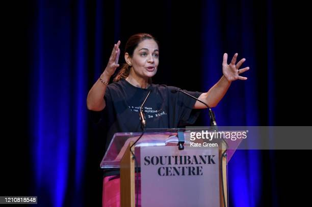 Siobhan Benita from the Liberal Democrats speaks at the Mayoral debate during the WOW Women of the World Festival 2020 at Southbank Centre on March...