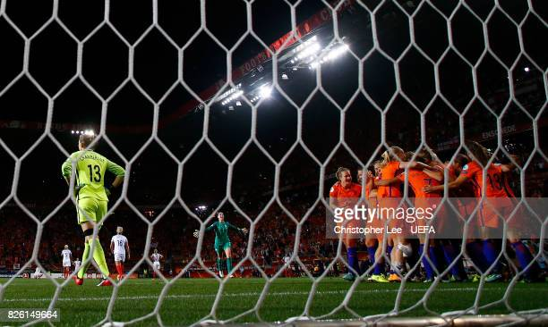 Siobhan Chamberlain of England looks dejeted following the UEFA Women's Euro 2017 Semi Final match between Netherlands and England at De Grolsch...