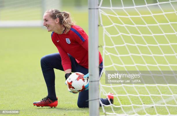 Siobhan Chamberlain of England smiles during the England Training Session at Sporting 70 on August 2 2017 in Utrecht Netherlands