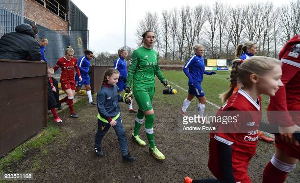 Siobhan Chamberlain of Liverpool Ladies before the SSE Women's FA Cup Quarter Final match between Liverpool Ladies and Chelsea Ladies at Prescot...