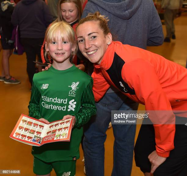 Siobhan Chamberlain of Liverpool Ladies during a signing session after the WSL 1 match between Liverpool Ladies and Manchester City Women at Select...