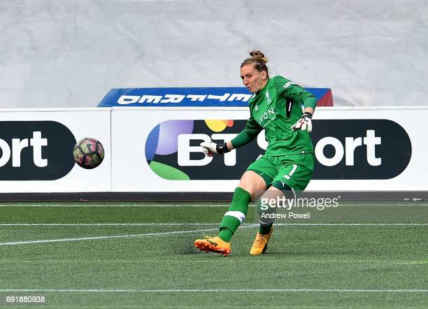 Siobhan Chamberlain of Liverpool Ladies during a WSL 1 match between Liverpool Ladies and Manchester City Women at Select Security Stadium on June 3...