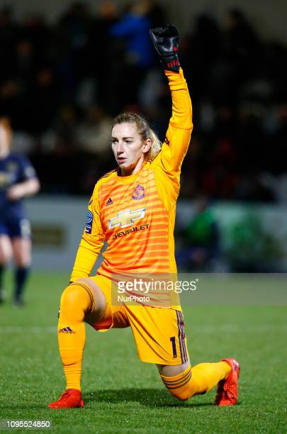 Siobhan Chamberlain of Manchester United Women during FA Continental Tyres Cup SemiFinal match between Arsenal and Manchester United Women FC at...