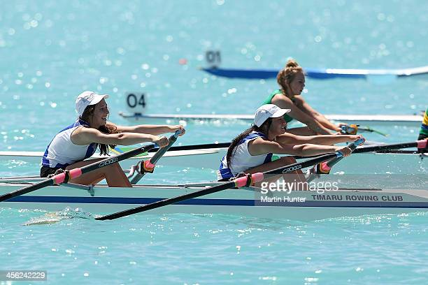 Siobhan Connolly and Kim Geels of Timaru compete in the Girls Under 15 Double Sculls during the 2013 Meridian Otago Championships at Lake Ruataniwha...