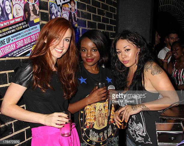Siobhan Donaghy Keisha Buchanan and Mutya Buena the original members of the Sugababes DJ during We Love Pop at Bells of Shoreditch on August 3 2013...