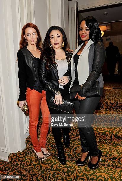 Siobhan Donaghy Mutya Buena and Keisha Buchanan of Sugababes arrive at The Q Awards 2012 at the Grosvenor House Hotel on October 22 2012 in London...
