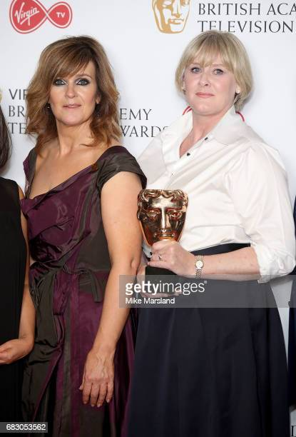 Siobhan Finneran and Sarah Lancashire winners of the Drama Series award for 'Happy Valley', pose in the Winner's room at the Virgin TV BAFTA...