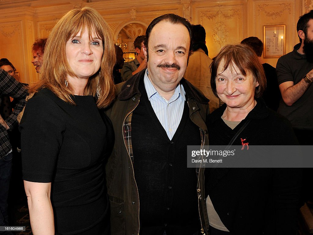 Siobhan Finneran, Hugh Sachs and Janine Duvitski attend an after party celebrating the new cast of 'One Man, Two Guvnors' at the Theatre Royal Haymarket on February 12, 2013 in London, England.