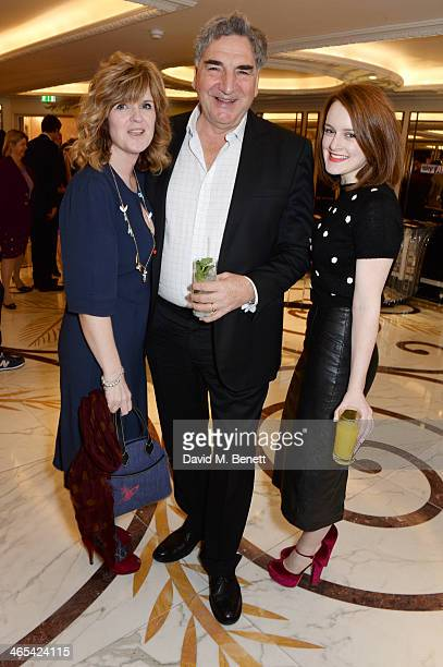 Siobhan Finneran, Jim Carter and Sophie McShera attend a drinks reception at the South Bank Sky Arts awards at the Dorchester Hotel on January 27,...