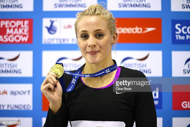 Siobhan Marie O'Connor of Great Britain poses with her Gold medal after winning the Women's 200m Individual Medley Final on day six of the British...