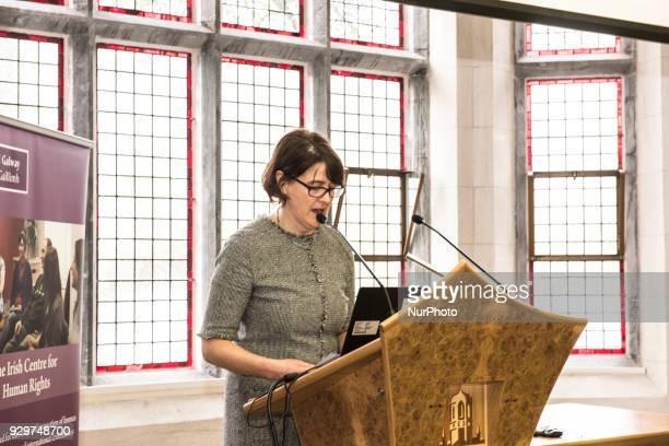 Siobhan Mullally director Irish Centre for Human Rights at NUI Galway speaking at podium at the event About Abortion the law and politics of reform...