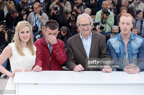 Siobhan Reilly Paul Brannigan Ken Loach and William Ruane at the photo call for The Angel's Share during the 65th Cannes International Film Festival