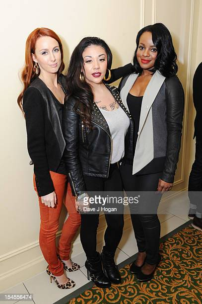 Siobhßn Donaghy Mutya Buena and Keisha Buchanan of Sugababes pose in the press room at the Q Awards 2012 at The Grosvenor House Hotel on October 22...