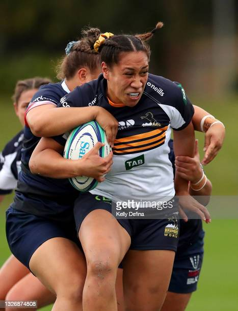 Siokapesi Palu of the Brumbies runs with the ball during the Super W match between the Melbourne Rebels and the ACT Brumbies at Coffs Harbour...