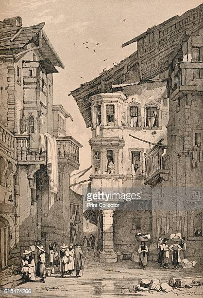 Sion' c1830 Sion is the capital of the Swiss canton of Valais and of the district of Sion From Sketches by Samuel Prout edited by Charles Holme [The...