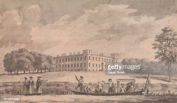 Sion House, Samuel Wale RA, 1721–1786, British, undated, Watercolor with pen and black ink on medium, slightly textured, cream wove paper, Sheet: 3...