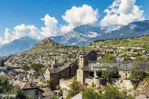 sion old town in canton valais, switzerland - valais canton stock pictures, royalty-free photos & images