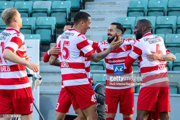 Sion players celebrate a goal during the Swiss Super League match between FC Sion and FC Zurich at Stade Tourbillon on April 17, 2021 in Sion,...
