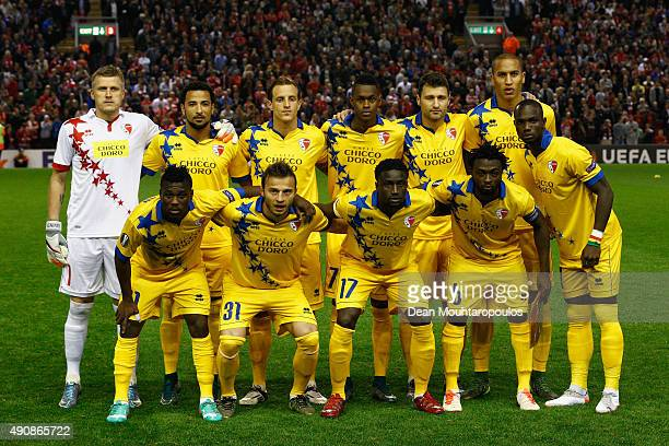 Sion pose for a team photo during the UEFA Europa League group B match between Liverpool FC and FC Sion at Anfield on October 1, 2015 in Liverpool,...