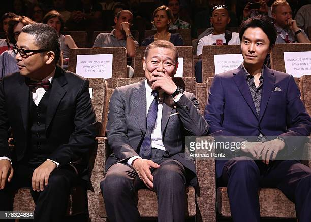 Sion Sono Jun Kunimura and Hiroki Hasegawa attends Why Don't You Play In Hell Premiere during the 70th Venice International Film Festival on August...