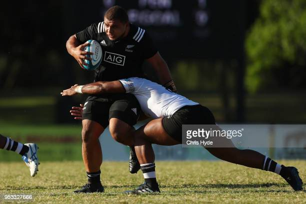 Sione Asi of New Zealand runs the ball during the 2018 Oceania Rugby U20 Championship match between New Zealand and Fiji at Bond University on May 1...
