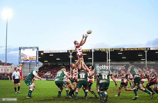 Sione Kalamafoni of Gloucester Rugby catches the ball during the Aviva Premiership match between Gloucester Rugby and Leicester Tigers at Kingsholm...