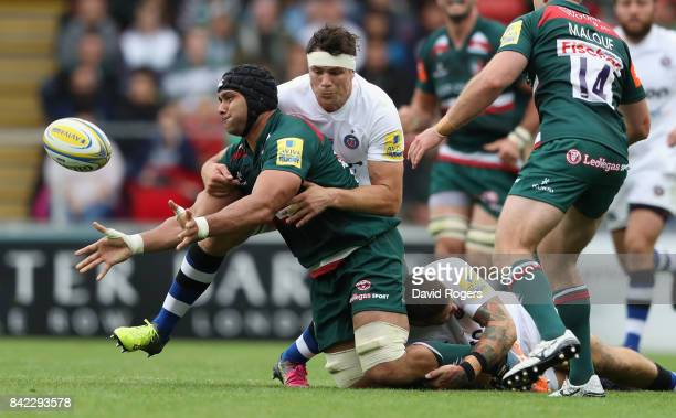 Sione Kalamafoni of Leicester Tigers moves away from Francois Louw during the Aviva Premiership match between Leicester Tigers and Bath Rugby at...