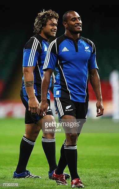 Sione Lauaki and Josevata Rokocoko of the New Zealand All Blacks in action during the captains run on October 5 2007 at the Millennium Stadium...