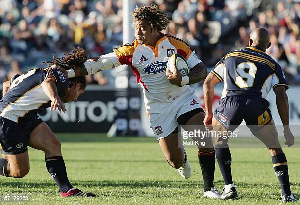 Sione Lauaki of the Chiefs in action during the round seven Super 14 match between the Brumbies and the Chiefs at Canberra Stadium March 25 2006 in...