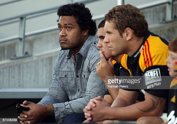 Sione Lauaki of the Chiefs sits on the bench after being suspended for two weeks during the round four Super 14 match between the Chiefs and the Reds...