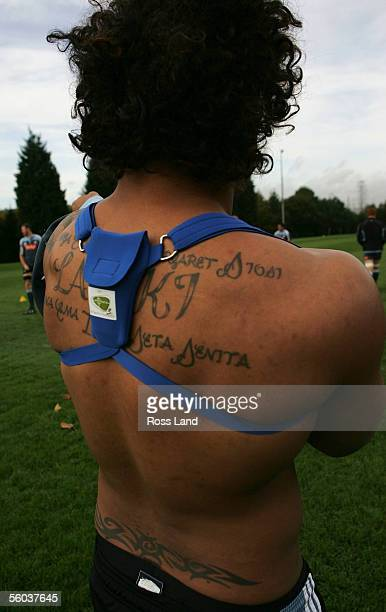 Sione Lauaki wears a GPS pack for measuring distance speed and impact during the All Black training at the University of Glamorgan rugby grounds...