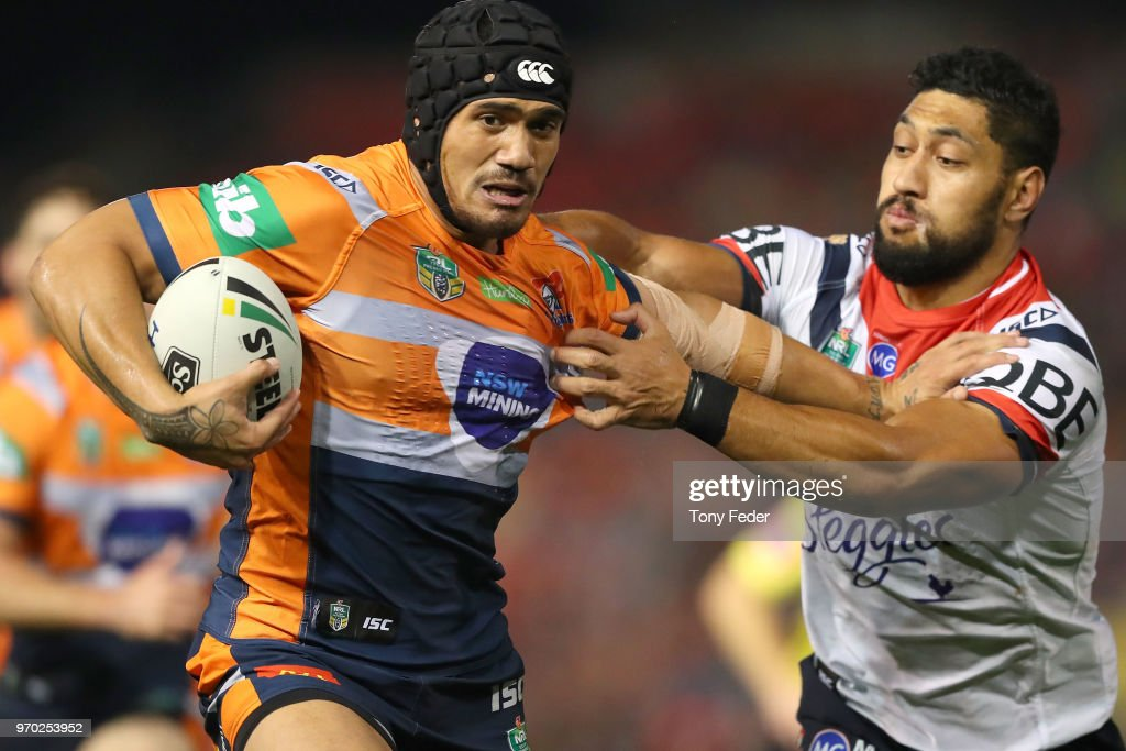 Sione Mata'Utia of the Knights is tackled during the round 14 NRL match between the Newcastle Knights and the Sydney Roosters at McDonald Jones Stadium on June 9, 2018 in Newcastle, Australia.